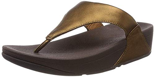 Fitflop Women's Lulu Leather Toe-Post Thong Sandals, Brown Bronze 012, 8.5