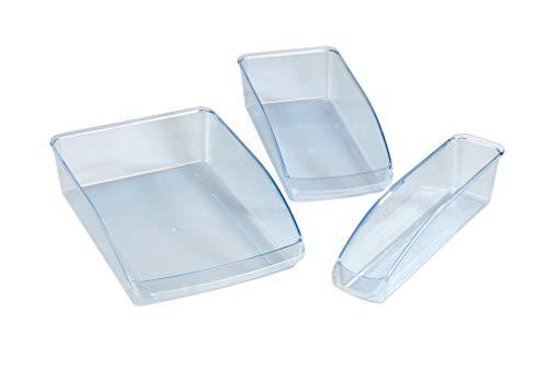 WENKO Kühlschrank-Organizer 3-teiliges Set - Aufbewahrungsbox, 3-teilig, Polystyrol, 22.5 x 8 x 33 cm, Transparent