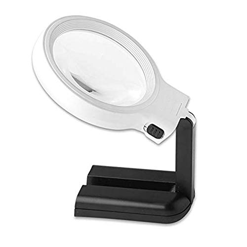 Led-vergrootlamp met vrijstaande loepstandaard, draagbaar vergrootglas voor lezen, inspectie, lassen, borduren, onderhoud, hobby en knutselen.