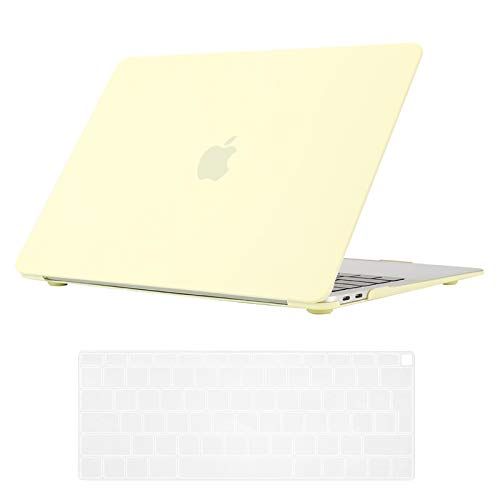Se7enline New MacBook Air 13 Inch Case 2020/2019/2018 Smooth Plastic Hard Shell Case Cover for MacBook Air 13-Inch with Retina Touch ID Model A1932/A2337/A2179 with Keyboard Cover, Mellow Yellow