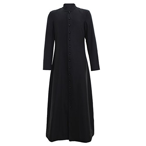1791's lady Single Breasted Minister Cassock Choir Cassock Robe Clergy Pulpit Liturgical Vestment (XL:Height71-73 Bust46-48 Waist40-42 Hips44-46, Black)