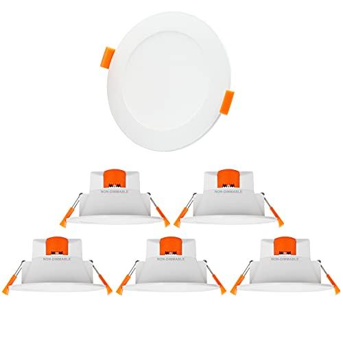 Lampes Plafond Spot LED Escalier Encastrable Plafonnier 10W 900Lm Extra Plat 3000K 4000K 5000K Ajustable 220V Diamètre Trou 90-105MM pour Salle de Bain et Terrasse Lot de 6 de Enuotek