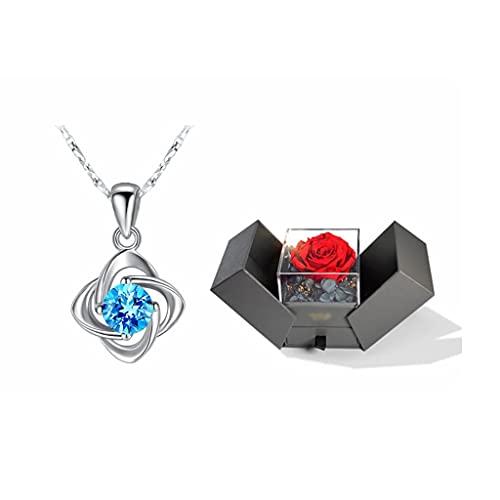 zxb-shop Collar Collares para Mujeres Diseño clásico, trébol de Cuatro Hojas Significa Suerte, vitalidad Exquisita Collar Colgante (Conjunto de Caja de Regalo) Collar Mujer (Color : Blue)