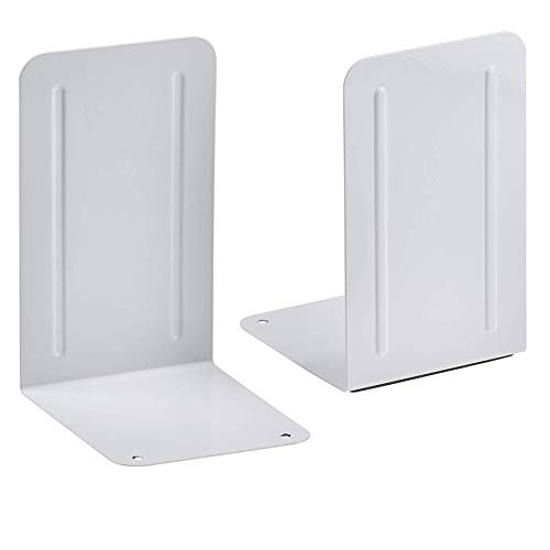 Acrimet Premium Metal Bookends (Heavy Duty) (White Color) (1 Pair) Photo #1