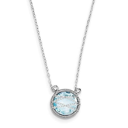 Sterling Silber Topas blau-Kette, Halskette 46 cm, 1,5 W JewelryWeb cm Verlängerung
