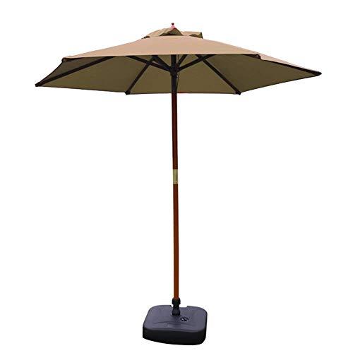 GBTB Sombrillas Sombrilla de Patio de 7 pies Sombrilla de Mesa de jardín al Aire Libre, Sombrilla de Piscina de Camping con Soporte de Madera Maciza (Color: Caqui)