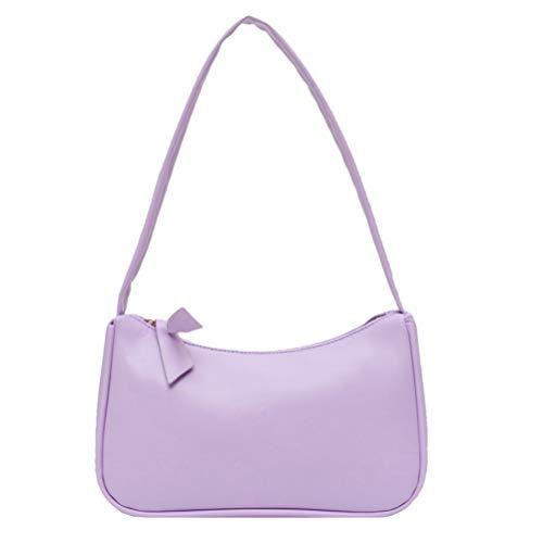 Nargut Retro Underarm Bag Women's Bow Handbag PU Leather Baguette Bag
