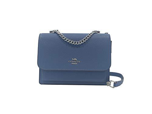Coach Klare Crossbody Shoulder Handbag in Crossgrain Leather & Signature Coated Canvas (SV/Stone Blue)