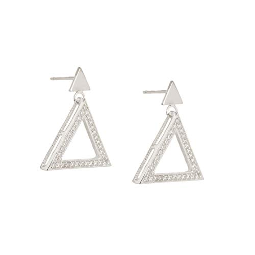 Ellvina Pendientes de plata de ley 925 elegantes con forma triangular plateado