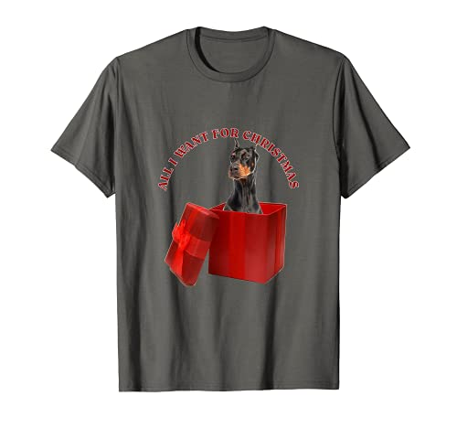 Todo lo que quiero para Navidad Doberman Pinscher Camiseta