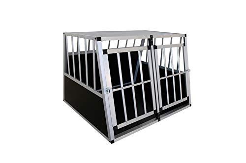 Gegaden ALU Hundebox Großer Hunde Transportbox mit 2 Türen Aluminium Hunde Transportbox Hunde Autotransportbox MDF Boards Auto Transportbox Gitterbox Welpen Transportbox Hunde Reisebox