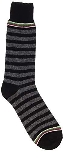 Punto Men's Italian Wool Cashmere Luxury Socks (Black, Grey Stripe)
