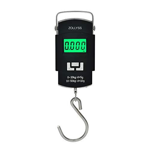 Zollyss Portable Digital 50 Kg Weighing Scale with Metal Hook (Black)