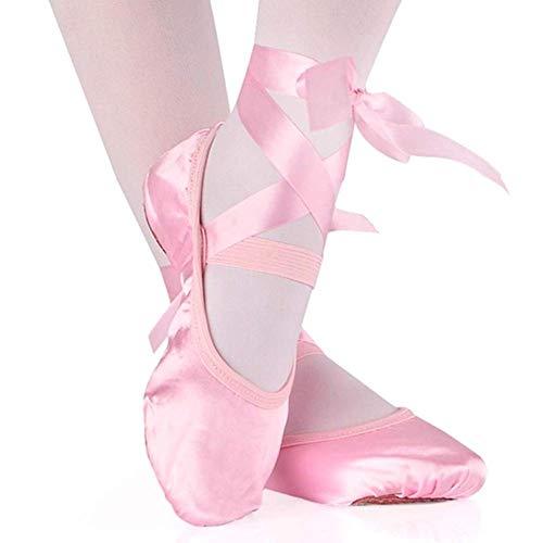 Kinder und Erwachsene Mädchen Balletttanzschuhe Satin Gymnastik flach Geteilte Sohle mit Band