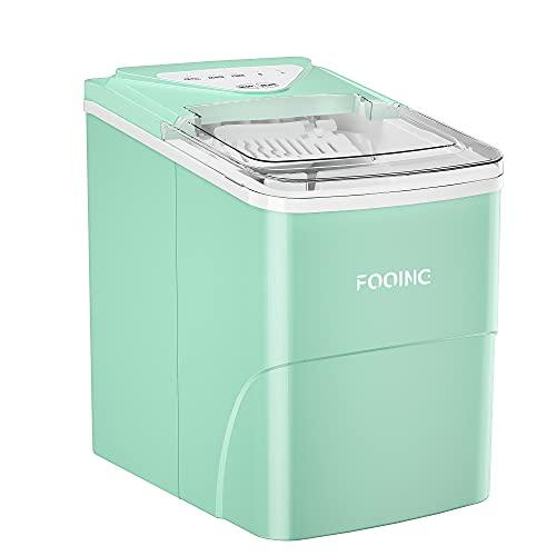 Máquina para hacer hielo FOOING Máquina para hacer cubitos de hielo Encimera lista en 6 minutos de 2 litros con pala para hielo y canasta Pantalla LED Máquina para hacer hielo para el hogar