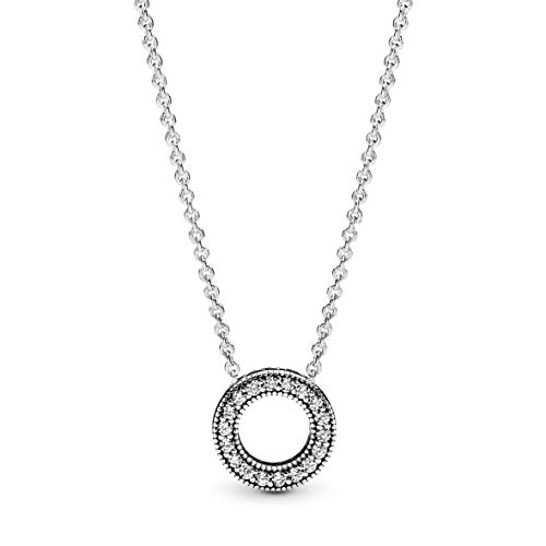 Pandora Jewelry Hearts of Pandora Cubic Zirconia Necklace in Sterling Silver, 17.7'