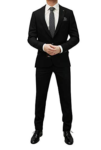 MMUGA Slim Fit Herren Anzug mit Wendeweste Schwarz 50