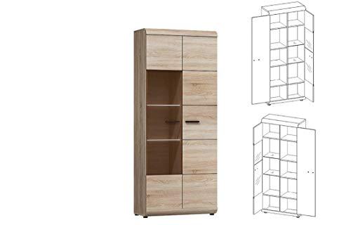 Furniture24 Vitrine LINK, Standvitrine, Wohnzimmerschrank, Vitrinenschrank mit 2 Türen (Mit 2 pkt. LED Beleuchtung)
