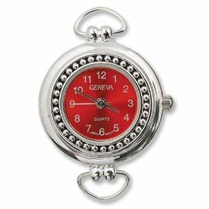 boxdisplays Reloj chapado en plata con cara roja - (WFCL-11RE)