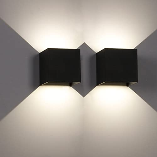 LEDMO 2 Piezas Apliques pared led 4000K Luz blanca natural 12W Aplique de pared exterior negro Impermeable IP65 Ángulo ajustable Lámpara de pared interior ✅