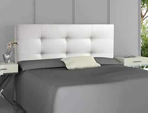 ONEK-DECCO Cabecero tapizado en Polipiel de Dormitorio Tennessee Medidas cabecero de Cama niño, Juvenil y Matrimonio Cabezal Blanco, tapizado, Acolchado (135x70, Blanco)
