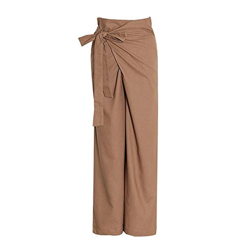 Pantalones Anchos Pierna Up de Arco Irregular Pantalones del cordón for Las Mujeres de Cintura Alta Floja Ocasional otoño Pierna Ancha Calzoncillos Ropa de Moda (Color : Khaki, Size : L)
