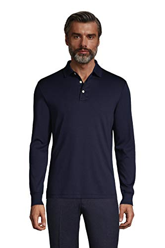 Lands' End Mens Long Sleeve Supima Polo Radiant Navy Regular X-Large