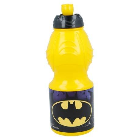 Borraccia Sport in plastica Bottiglia per Bambini 400ML con beccuccio retraibile (Batman)