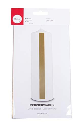Rayher 3103806 Verzierwachs, gold hochglänzend, Verzierwachsplatte 20 x 10 cm, Wachsfolie zum Kerzen verzieren, Kerzenwachs, Wachsfolie