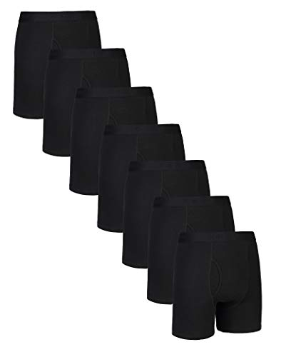 Comfneat Herren Boxershorts 5er Pack Long Leg Boxer Briefs Baumwolle Unterhosen Super Elastisch Komfortable Retroshorts (Black+Grey Melange Pack-7, S)