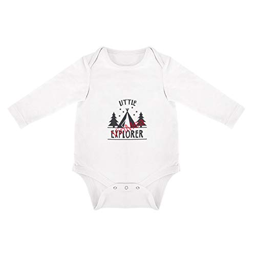 VinMea Baby Bodysuits Funny Long Sleeve Little Explorer for Sweet Baby Girls & Boys (0-3 Months)
