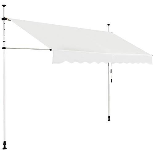 COSTWAY Klemmmarkise Sonnenschutz, Balkonmarkise höhenverstellbar 200-300cm, Sonnenmarkise mit Handkurbel ohne Bohren (300cm breit, beige)
