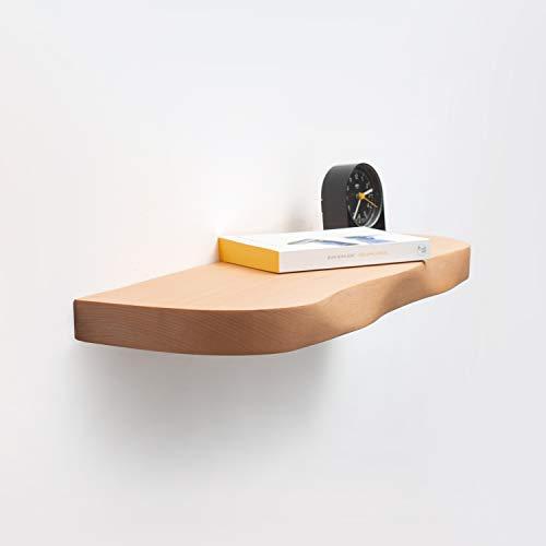 Rikmani Wandregal Holz Buche massiv - Handgefertigtes Regal mit geschwungener Kante Bücherregal Holzregal Wandboard 90 cm x 20 cm x 4 cm