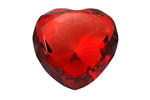 80 mm Ruby Red Diamond Heart Shaped Crystal Jewel Paperweight by Tripact - 02