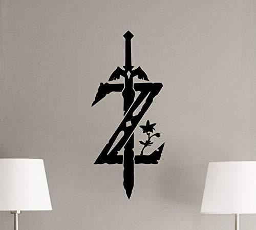 Zelda Tatuajes de pared Leyenda de Zelda Cartel del emblema Pegatina de vinilo Z Logo Espada Maestra Calcomanías para películas Decoración para el hogar Sala de estar 96x42 cm