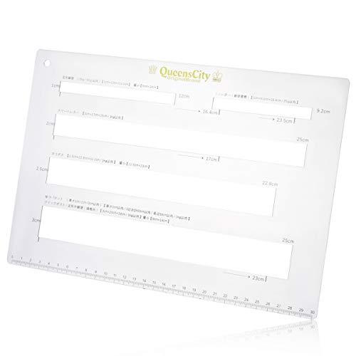 QueensCity 郵便 メルカリ クリックポスト ネコポス 定規 厚さ測定定規 送料早見表セット/5穴アクリル板 (厚さ3mm アウトレット品)