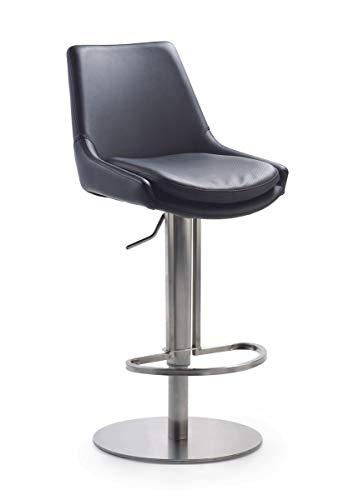LaNatura Bar- und Tresenhocker Genf Stuhl Säulenfuß Schwarz