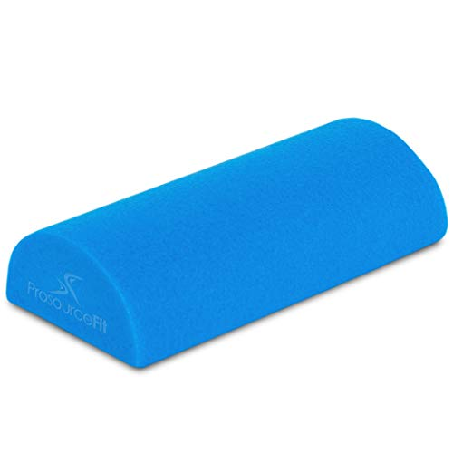 """Prosource Fit Flex Foam Half-Round Rollers 12"""" for Muscle Massage, Physical Therapy, Core & Balance Exercises Stabilization, Pilates, Blue 12'x3', 12 x 3-inches"""