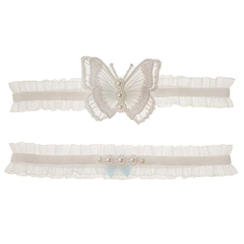 GHBOTTOM Garter Belt, Western Style Wedding Bridal 2 Piece Thigh Garters Set Ruffles Floral Lace Embroidery Butterfly Imitation Pearl Jewelry Princess Leg Rings