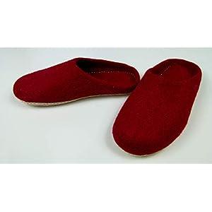 feelz – Warme Filzpantoffeln unisex für Damen und Herren, Hausschuhe aus Filz (Wolle) mit Ledersohle rot Handarbeit…