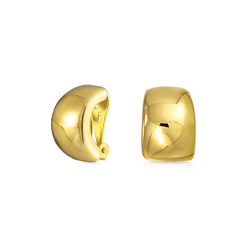 Geometric Plain Minimalist Shrimp Huggie Half Hoop Clip On Earrings For Women Non Pierced Ears 14K Gold Plate Brass
