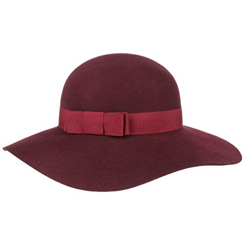 Lipodo Lipodo Uni Damen Schlapphut Hut Damenhut Wollhut - Made in Italy mit Ripsband Herbst-Winter - One Size Bordeaux