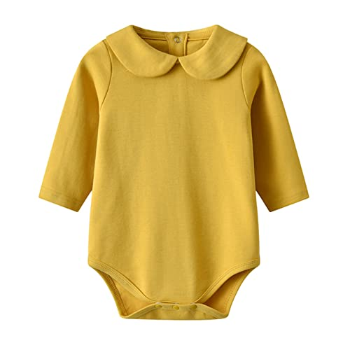 iiniim Body Algodón para Bebé Niño Niña (0-24 Meses) Mameluco Blanco Camsieta Manga Corta Ropa Infantil Traje de Fiesta Boda Bautizo Recién Nacido Amarillo 9-12 meses