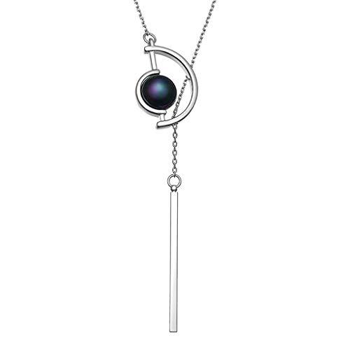 HSJ WDX- Collar de Personalidad de la Cadena de suéter Collar Largo Colgante Collar Largo Colgante Colgante Cien Accesorios a Juego Colgante decoración (Color : Silver)
