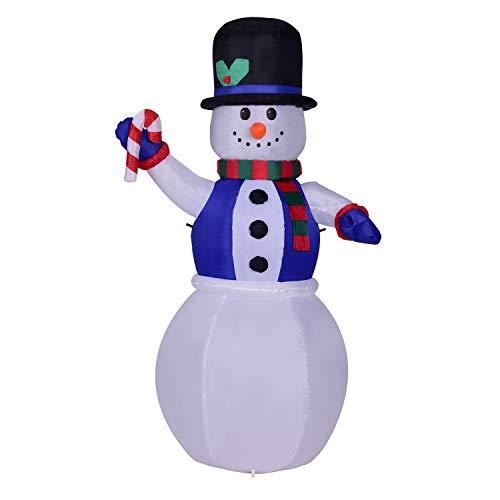 NBWS LED blauw vest sneeuwman kerstman opblaasbaar verlicht 180cm aantal kerstman waterdicht grote opblaasbare decoratie
