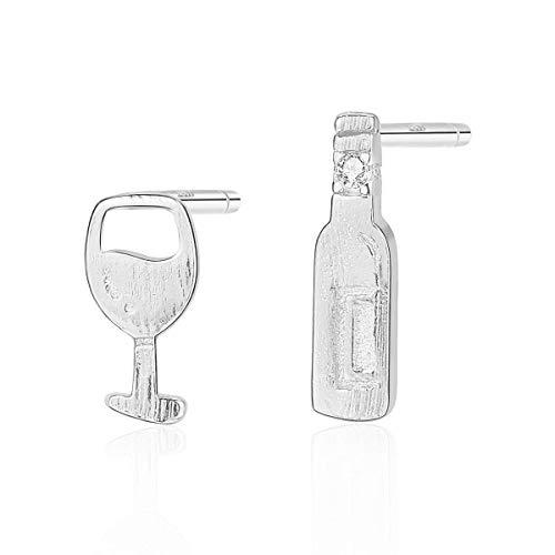 EARRING S925 Sterling Ohrringe Weingläser Und Flaschen Asymmetrische Ohrstecker Persönlichkeit Temperament Schmuck Für Frauen Und Mädchen Zwei Ohrringe Unterschiedlich In Ihrer Art,Silber