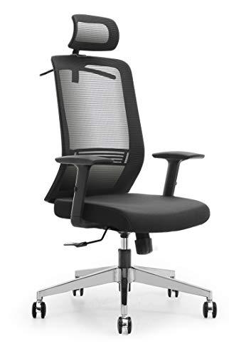Ribelli Ergonomischer Bürostuhl - höhenverstellbarer Drehstuhl mit Wippfunktion, Kopfstütze und Armlehne - Schreibtischstuhl mit Leichtlaufrollen - rückenschonend - bis 120 kg belastbar