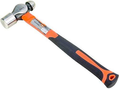 Edward Tools Ball Peen Hammer 16 oz. - Forged Fine Grain Steel Head - Ergonomic Rubber Cusion Grip - Fiberglass Shock Absorbing Shaft - Pein Hammer - Metal Work, Rounding, Blacksmith Hamer, Mechanics