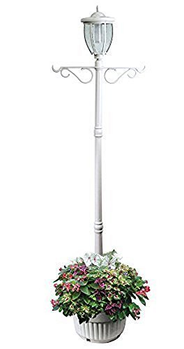Sun-Ray 312065 Kenwick Single-Head Solar Lamp Post and Planter, with Plant Hanger Dual Amber/White Light Switch, 7'