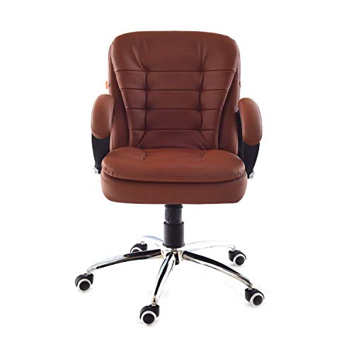 Da URBAN Milford Mid-Back Swivel Computer Office Chair with Armrests, Ergonomic Leatherette-Padded Desk Chair (Tan)